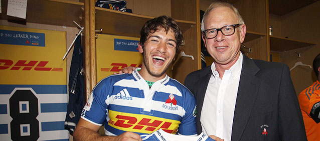 CAPE TOWN, SOUTH AFRICA - SEPTEMBER 26: Rob Wagner and Demetri Catrakilis of Western Province during the Absa Currie Cup match between DHL Western Province and Steval Pumas at DHL Newlands Stadium on September 26, 2015 in Cape Town, South Africa. (Photo by Luke Walker/Gallo Images)