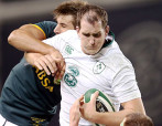 DUBLIN, IRELAND - NOVEMBER 08: Devin Toner of Ireland out jumps Eben Etzebeth of South Africa during the Castle Lager Outgoing Tour match between Ireland and South Africa at AVIVA Stadium on November 08, 2014 in Dublin, Ireland. (Photo by Steve Haag/Gallo Images)